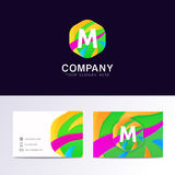 Abstract fun M letter logo sign. Flat children hexagon avatar ve Royalty Free Stock Image