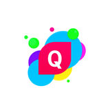 Abstract fun Q letter logo creative flat children avatar vector Royalty Free Stock Photo