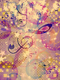 Abstract funky music background. Illustration of abstract colorful funky musical background Stock Photos
