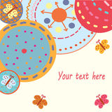 Abstract funny background. With circles and butterflies vector illustration