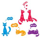 Abstract funny cats. Vector illustration - a funny colored cats stock illustration