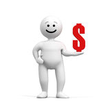 Abstract funny character with dollar Royalty Free Stock Image