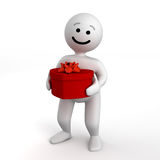 Abstract funny character with heart gift Royalty Free Stock Photography