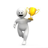 Abstract funny character with trophy Stock Photography