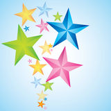 Abstract Funny colored star flow background. Abstract Funny colored star flow on blue background Royalty Free Stock Photo