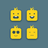Abstract funny faces icons set. Vector illustration Stock Photo