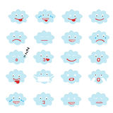 Abstract funny flat style emoji emoticon icon set, blue cloud Royalty Free Stock Images