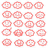Abstract funny flat style emoji emoticon icon set,cloud red Royalty Free Stock Photo