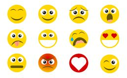 Abstract funny flat style emoji emoticon icon set. Social media reactions. Flat design. Vector illustration Royalty Free Stock Images