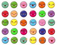 Abstract funny flat style emoji emoticon set colors icon illustration royalty free illustration