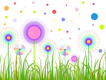 Abstract funny flowers. Illustration of abstract colorful flowers on a green meadow Royalty Free Illustration