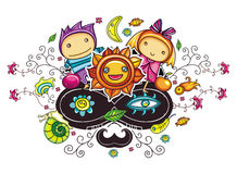 Abstract funny kids composition vector illustration