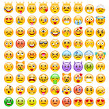 Abstract Funny Set of Emoticons. Set of Emoji. Good Mood Smile Icons. Emotions of Happiness, Love, Anger, Frustration, Eagerness Royalty Free Stock Images