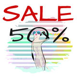 Abstract funny watercolor draw suricate Meerkat in sunglasses Royalty Free Stock Photos