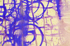 Abstract fusion. Close-up of a blue abstract pattern on a yellow background Stock Photo