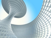 Abstract Futuristic Architecture Building On Blue Sky Background. 3d Render Illustration stock illustration