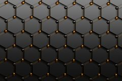 Abstract futuristic background with black hexagons and shiny golden and black spheres. Concept benzene molecules and carbon atoms. Geometric scientific vector illustration