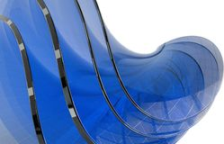 Abstract futuristic background blue glass geometric shapes. Isolated background. 3D illustration Royalty Free Stock Photos