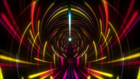 Abstract Futuristic background with colorful digital glowing neon lines light rotation loop motion. 4K 3D Seamless loop VJ loop.