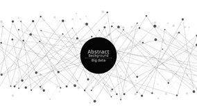 Abstract futuristic background. Connection of lines and dots in black. White background. Black web. Hi-tech and sci-fi Royalty Free Stock Photography