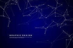 Abstract futuristic background with dots and lines, molecular particles and atoms, polygonal linear digital texture. Technological and scientific concept Stock Photography