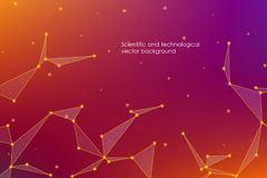 Abstract futuristic background with dots and lines, molecular particles and atoms, polygonal linear digital texture, technological vector illustration