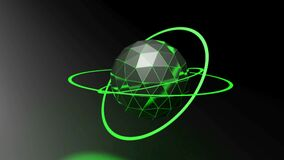 Black background with faceted sphere with green rings - 3D rendering video clip