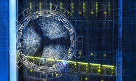 Abstract futuristic background over the disk storage of the supercomputer. Abstract futuristic background over the disk storage of supercomputer Stock Image