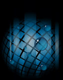 Abstract futuristic background. Abstract sphere made of blue squares on black background stock illustration