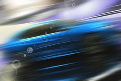Abstract background of sport car. Abstract futuristic background of sport car in the motion  and with bright light Royalty Free Stock Images