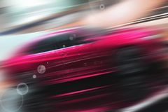 Abstract background of sport car. Abstract futuristic background of sport car in the motion  and with bright light Royalty Free Stock Image