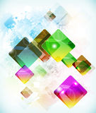 Abstract  futuristic background vith falling colored boxes. Stock Image