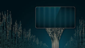 Abstract futuristic billboards as a printed circuit Board on the background of digital city Royalty Free Stock Images