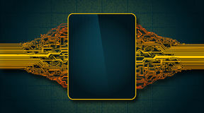 Abstract futuristic circuit board with electronic display, hi-tech computer digital technology concept Stock Photo