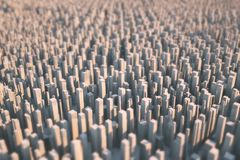 Abstract futuristic city consisting only of skyscrapers lit by the sun. Part of the background is blurred. 3D vector illustration