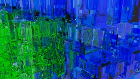 Abstract futuristic city with glass cubes. Blue and green color. 3d rendering Stock Photo