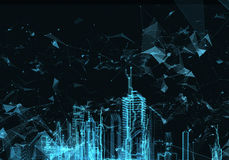 Abstract futuristic city. Rendering Abstract hologram futuristic city with hud main vector illustration