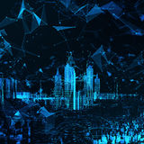 Abstract futuristic city. Rendering Abstract hologram futuristic city with hud main royalty free illustration