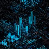 Abstract futuristic city. Rendering Abstract hologram futuristic city with hud main. orthogonality view vector illustration
