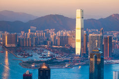 Abstract futuristic cityscape. Hong Kong aerial view Stock Photography