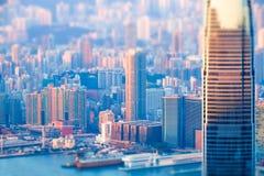 Abstract futuristic cityscape. Hong Kong. Tilt shift effect Stock Image