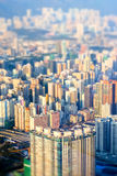 Abstract futuristic cityscape. Hong Kong. Tilt shift effect Stock Images