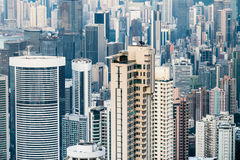 Abstract futuristic cityscape with modern skyscrapers. Hong Kong Royalty Free Stock Photos