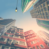 Abstract futuristic cityscape view. Hong Kong Stock Photo