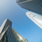 Abstract futuristic cityscape view with modern skyscrapers. Hong Royalty Free Stock Photo