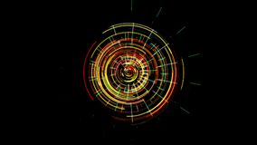 Abstract futuristic clockwork mechanism that glows with red and green color vector illustration