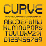 Abstract Futuristic Curve Alphabet and Numbers Stock Image