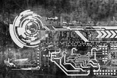 Abstract futuristic cyber grunge industrial vintage background. Blueprint on old grungy surface. Futuristic technology design Royalty Free Stock Image
