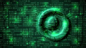 Abstract futuristic cyberspace with binary code and circular waves on the surface, matrix background with digits, neural network. Well organized layers vector illustration