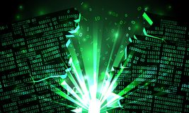 Abstract futuristic cyberspace hacked array of binary data, explosion with rays of light, blown-up binary code, matrix background vector illustration